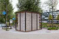"""Stahlrohre, Drahtgitter, Sandsäcke, 250 x 375 x 250 cm,  """"Gasträume 2013"""", Zürich. Ausführung: Schlosserei Walterstahl. Foto: Conradin Frei, Zürich"""
